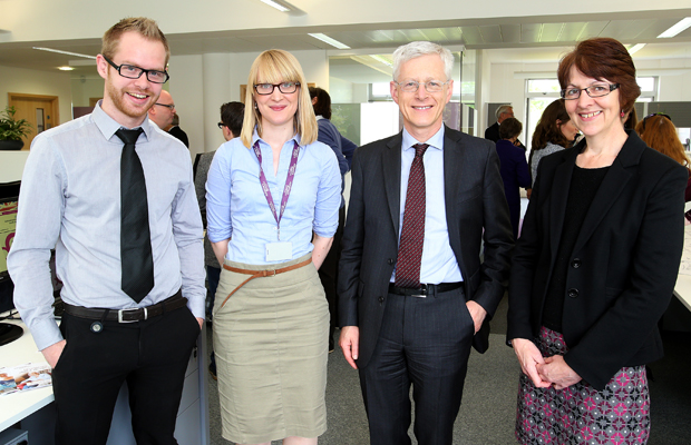 Members of our Science Communications team with former Trustee Martin Weale (second from the right)