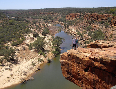 """Walking at the Murchison River, Kalbarri, Australia. One of the more precarious photos I've been in!"" James, Fundraising Operations"