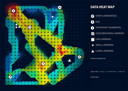 As players move around the game, their position is relayed securely and anonymously back to scientists. This is analysed using a heat map, which shows navigational decision-making. This gives scientists the data needed to see how everyone navigates through the various levels.